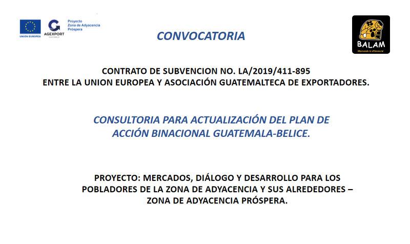 Convocatoria Consultoría Actualización del Plan de Acción Binacional Guatemala-Belice